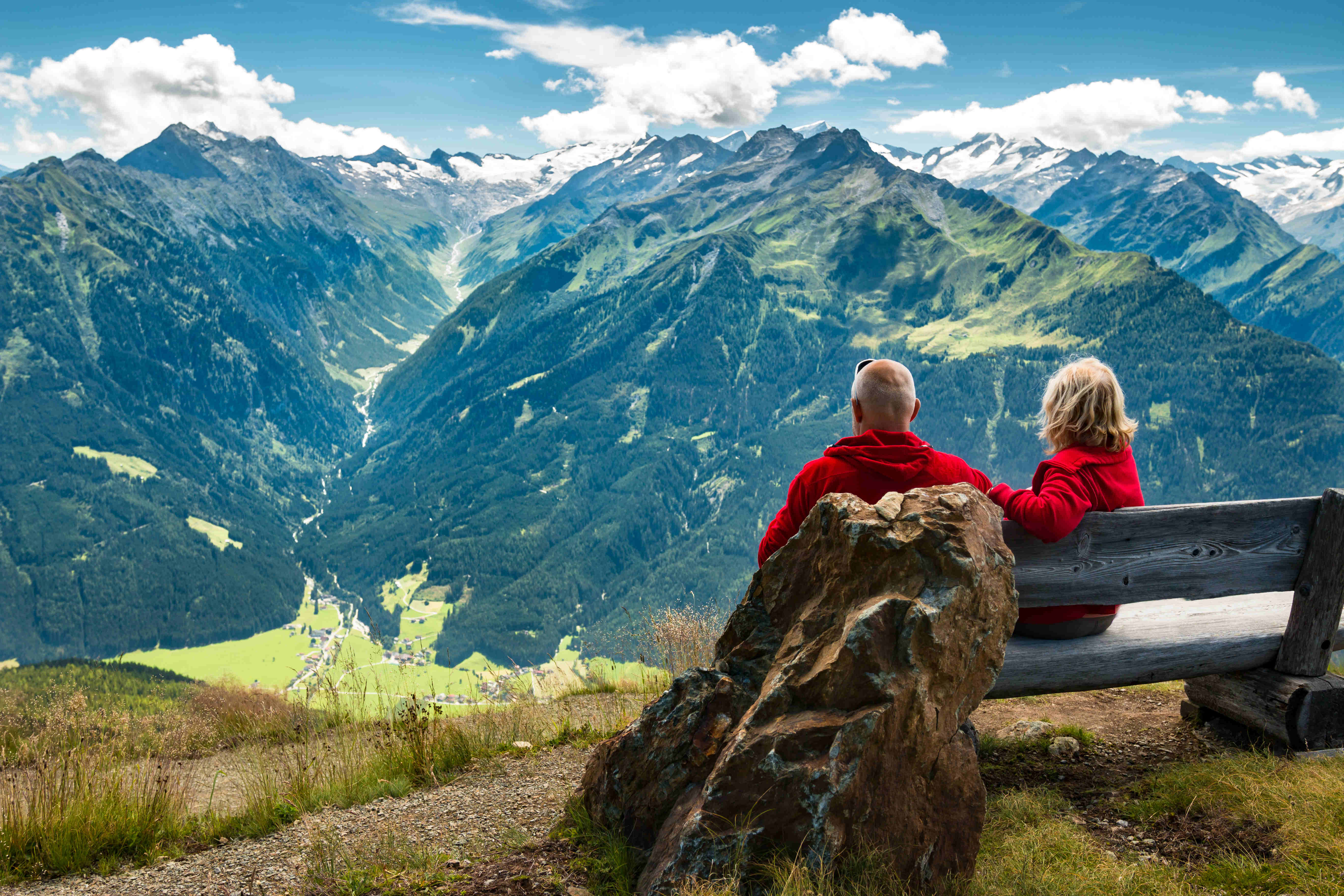 couple overlooking moutain range